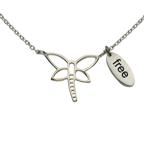 "Dragonfly ""Free"" Word Charm Sterling Silver Necklace"