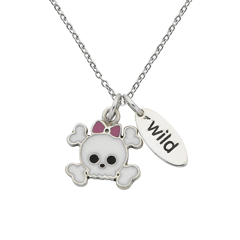 "Cute Skulls ""Wild"" Word Charm Sterling Silver Necklace"