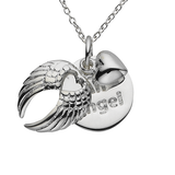 "Wings ""An Angel"" Word Charm Sterling Silver Necklace"