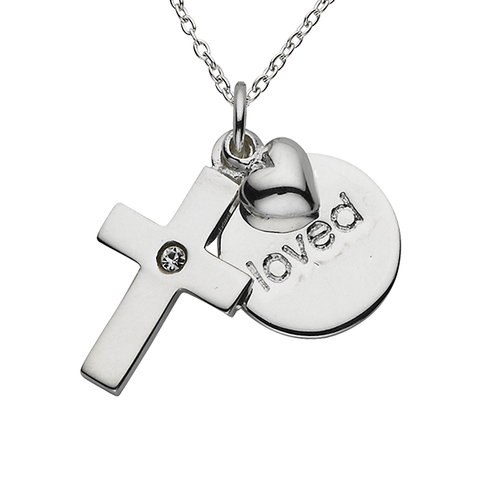 "Cross ""Loved"" Word Charm Sterling Silver Necklace"