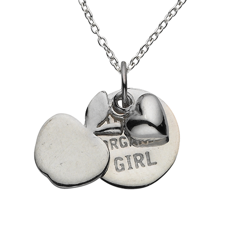 "Apple ""100% Organic Girl"" Sterling Silver Necklace"