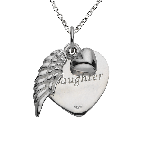 "Angel Wing ""Forever my Daughter"" Sterling Silver Necklace"