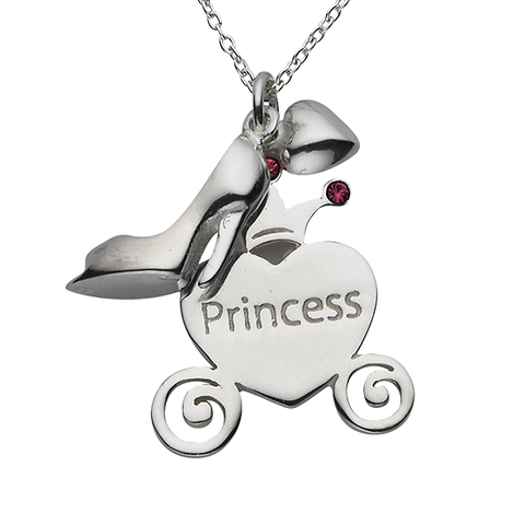 "Shoe ""Princess"" Carriage Word Charm Sterling Silver Necklace"
