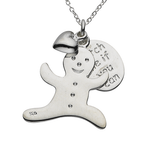 "Gingerbread Man ""Catch Me If You Can"" Sterling Silver Necklace"