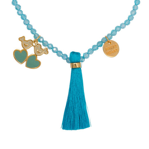 "Tweetie ""Sweet Heart"" Word Charm Tassel Necklace"