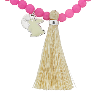 "Bunny ""Sweet"" Word Charm Tassel Necklace"