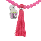 "Cupcake ""Sweet"" Word Charm Tassel Necklace"