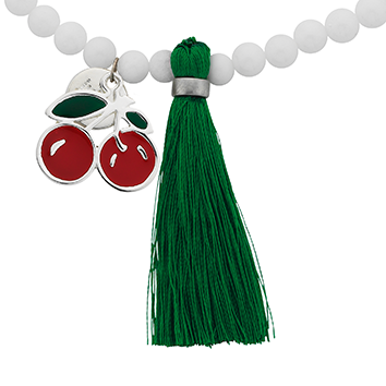 "Cherry ""Juicy"" Word Charm Tassel Necklace"