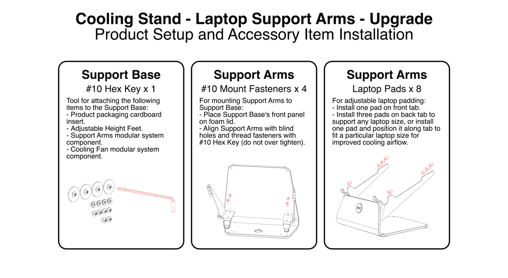 SVALT Cooling Stand upgraded Laptop Support Arms installation guide