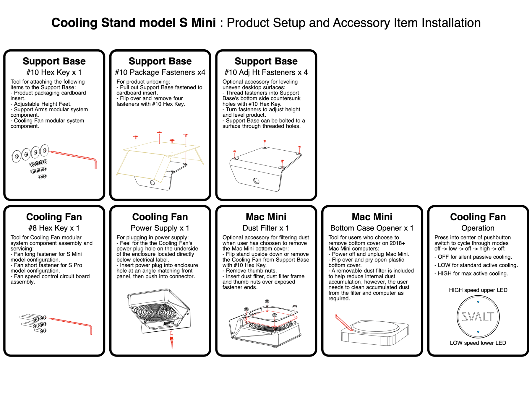 SVALT Cooling Stand model S Mini setup and accessory installation