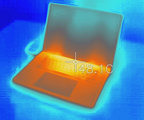 SVALT Cooling Stand model S Pro CONTROL testing FLIR infrared image with 16-inch MacBook Pro