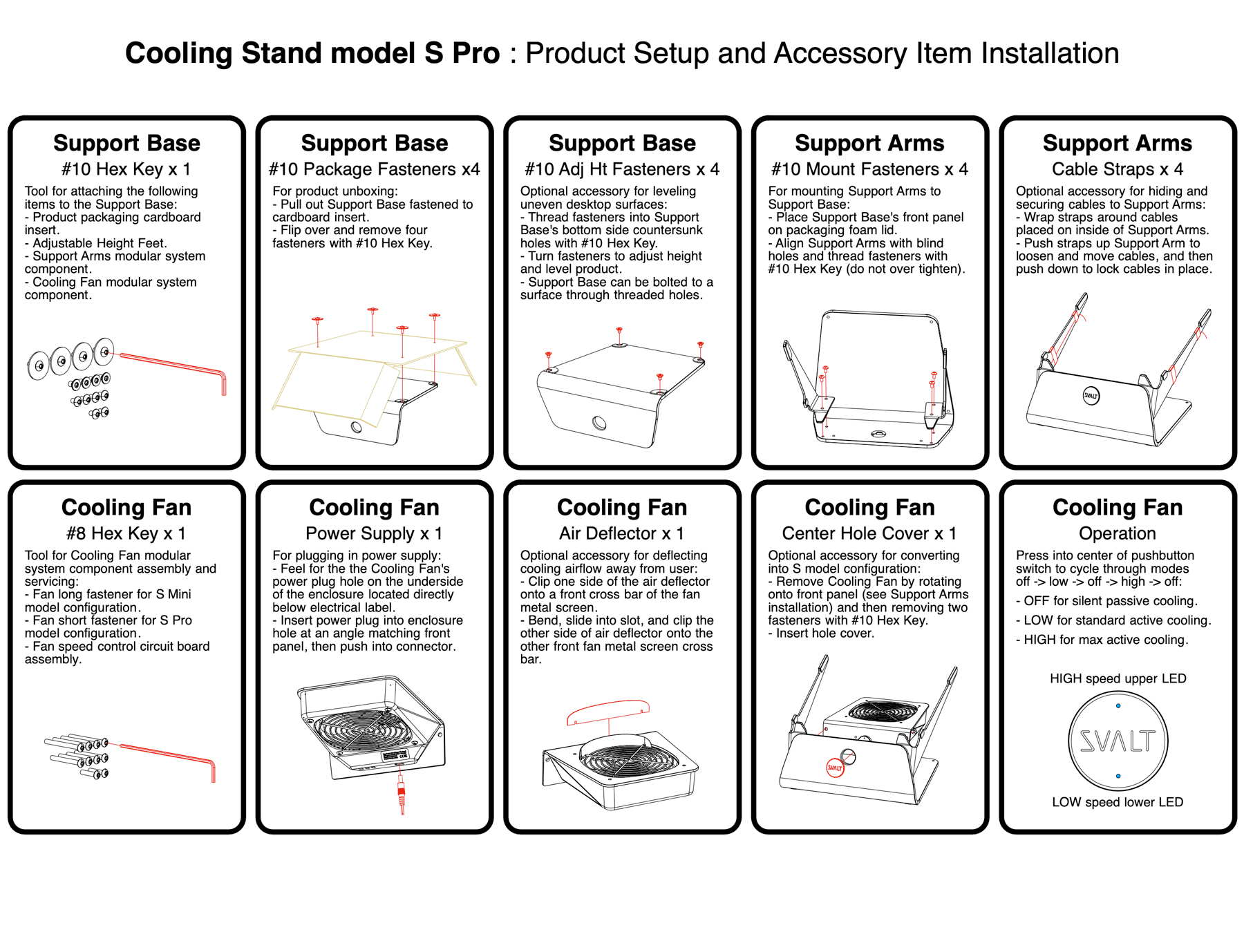 SVALT Cooling Stand model S Pro setup and accessory installation