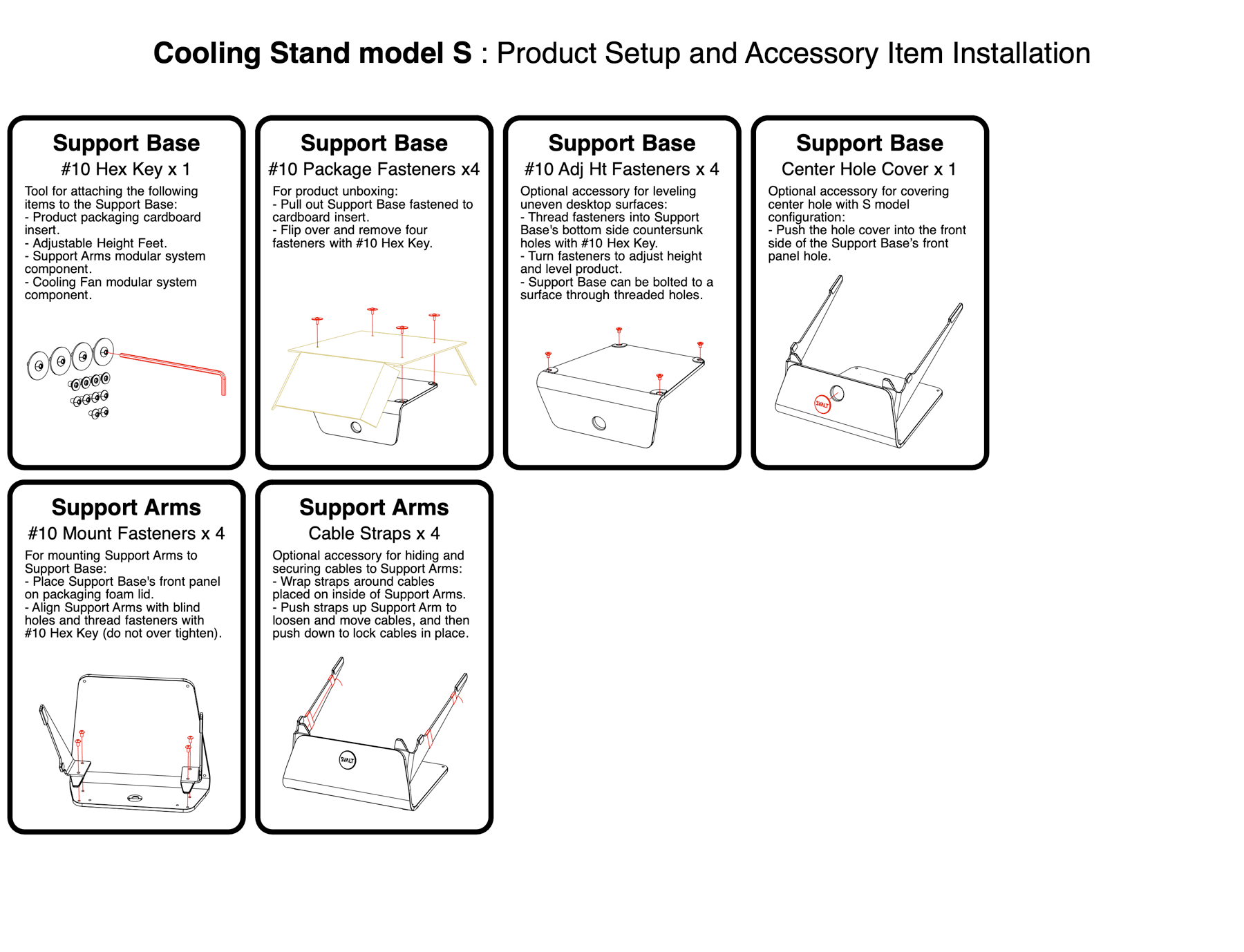 SVALT Cooling Stand model S setup and accessory installation