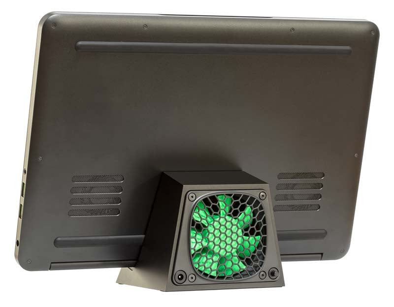 SVALT D2 black and green Cooling Dock with 14-inch Razer Blade laptop