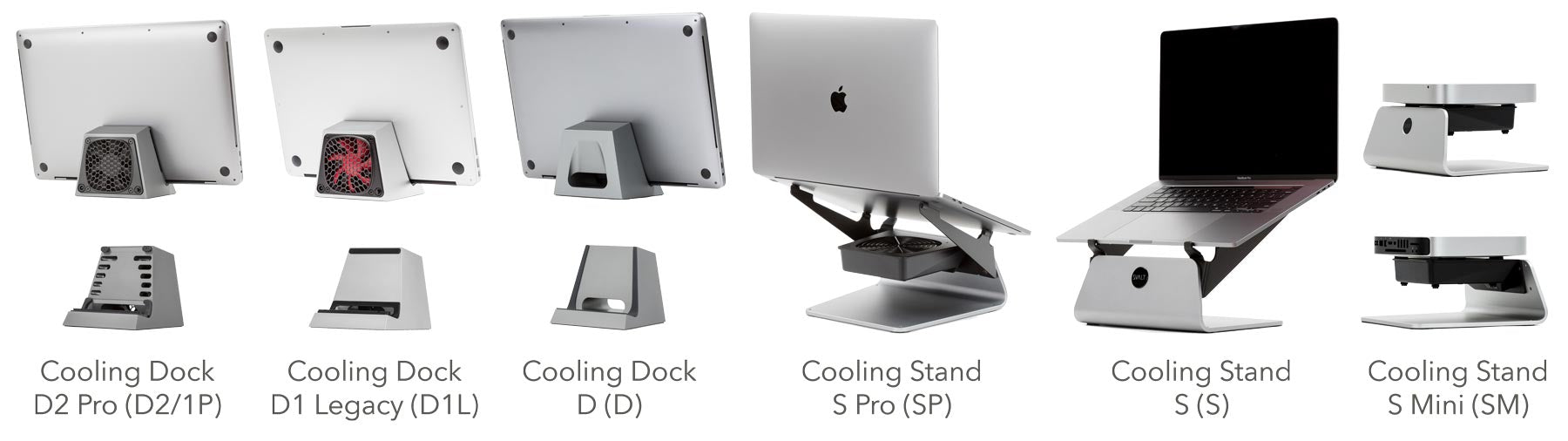 SVALT Cooling Dock model D, D2 Pro and D1 Pro with 16-inch MacBook Pro and SVALT Cooling Stand models S and S Pro with 16-inch MacBook Pro and model S Mini with Mac Mini