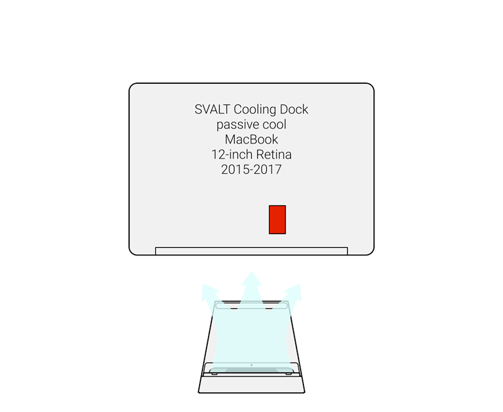 SVALT D2 High-Performance Cooling Dock showing air flow with 2015 to 2017 MacBook 12-inch Retina display