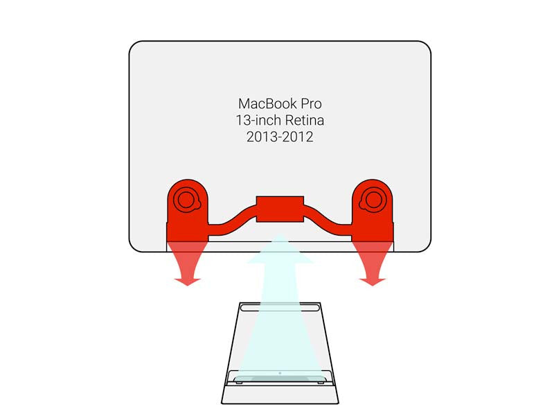 SVALT D2 High-Performance Cooling Dock showing air flow with 2013 to 2012 MacBook Pro 13-inch Retina display