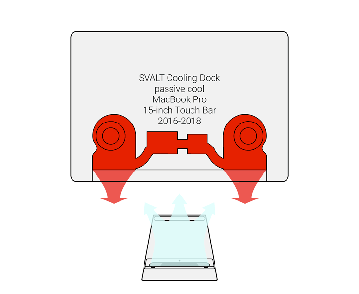SVALT D2 High-Performance Cooling Dock showing air flow with 2016 to 2018 MacBook Pro Touch Bar 15-inch Retina display