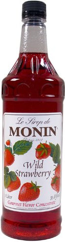 Monin Flavored Syrup, Wild Strawberry, 33.8-Ounce Plastic Bottle (Pack of 4)