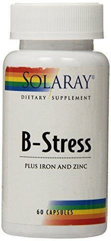 Solaray B-Stress Plus Iron and Zinc Supplement, 60 Count by Solaray