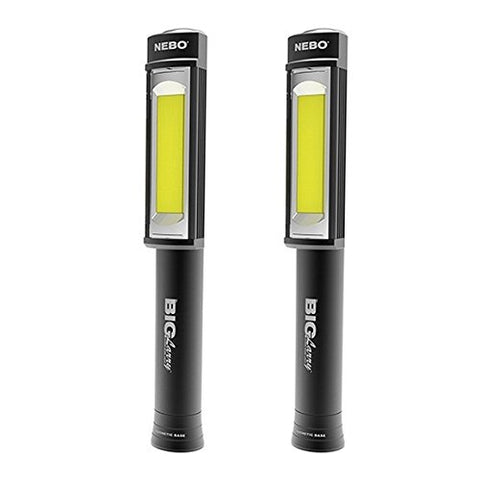 2PACK Nebo 6384 Big Larry 400 lumen Black Flashlight COB LED Magnetic Worklight