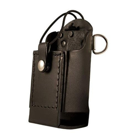Boston Leather Firefighter's Radio Holder with D-Rings & Elastic Strap