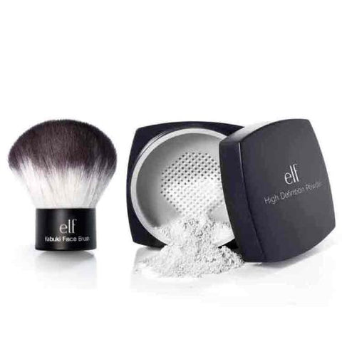 elf Studio High Definition Loose Face Powder and Studio kabuki face brush