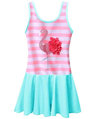 BAOHULU Toddler Girls Swimsuit One Piece Cute Floral Dress Swimwear 3-8 Years 4-5 Years Pinkstripes