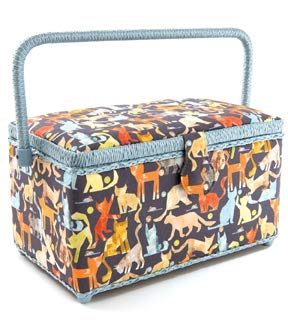 Dritz St Jane Sewing Basket Medium Rectangle Sewing Box 11x6x6 Inches (Gray with Cats) Gray with Cats