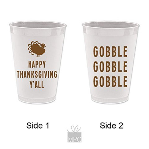 Thanksgiving Frost Flex Plastic Cups - Gobble Gobble Gobble (10 cups)