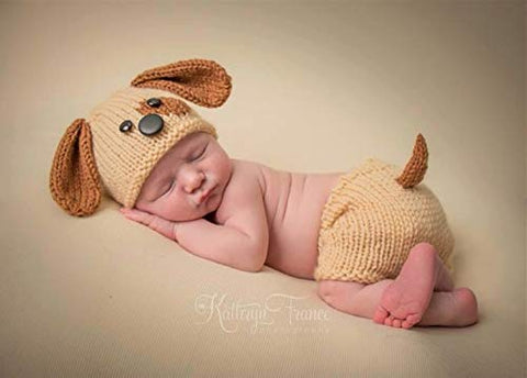 Memorz Newborn Infant Girl Boy Crochet Knit Costume Dog Photo Outfits Clothes Cap Prop (Yellow Dog hat + Shorts + Bone) Yellow Dog hat + shorts + bone
