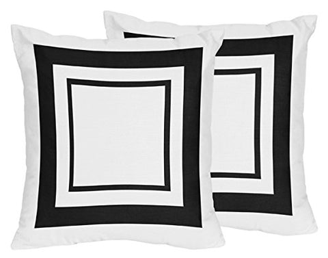 Sweet Jojo Designs 2-Piece Contemporary White and Black Modern Hotel Decorative Accent Throw Pillows