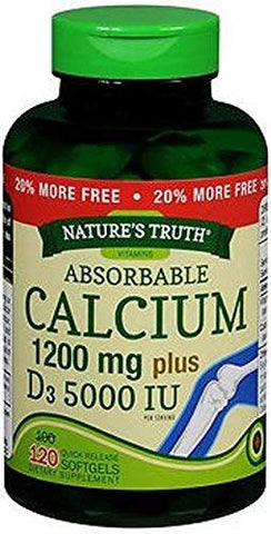 Nature's Truth Absorbable Calcium 1200 mg plus D3 5000 IU per Serving Quick Release Softgels - 120 ct, Pack of 2