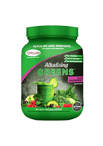 Morlife Super Greens - Acai Rasberry 1kg | Alkalizing Vegan Green Powder Superfood Supplements | with Prebiotics and Probiotics | 21 Greens Superfoods | Green Juice Supplement | 100 Servings Acai Raspberry