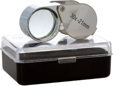 30x-21mm Glass Lens Jeweler Loupe Magnifier Doublet, Chrome Plated, Round Body