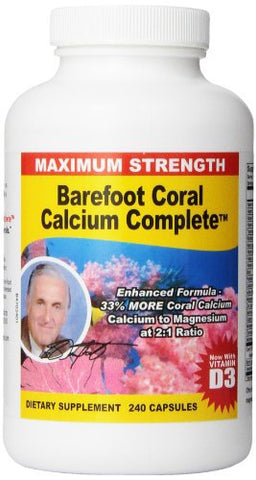 Barefoot Coral Calcium Complete 1500mg, 240 Capsules- Coral Calcium Supplement Developed by Bob Barefoot- Supports Bone Health & PH Levels- Contains Calcium, Magnesium, Vitamins
