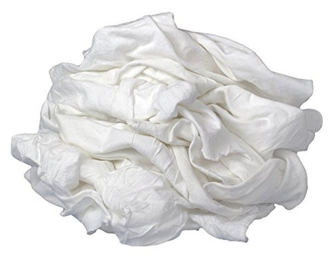 Buffalo Industries (60200) White Bleached Knit Cloth Rags - 1 lb. bag