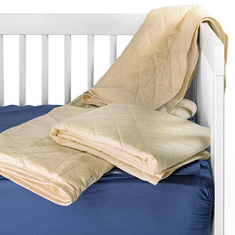 Waterproof Crib Flat Mattress Pad by QuickZip - 100    Natural Cotton Quilted Top Layer - Luxuriously Soft! Pairs Perfectly with QuickZip Crib Zip-On Sheets