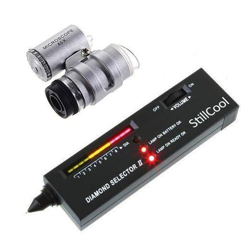Diamond Tester II V2 Selector Gemstone Jewelry Gems Tool with Case (Diamond Tester & LED Loupe) Diamond Tester & LED Loupe