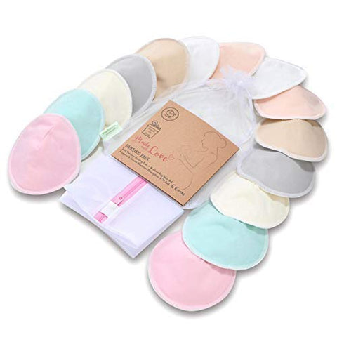 Organic Bamboo Nursing Breast Pads - 14 Washable Pads + Wash Bag - Breastfeeding Nipple Pad for Maternity - Reusable Nipplecovers for Breast Feeding (Pastel Touch, Large 4.8 ) Pastel Touch Large 4.8