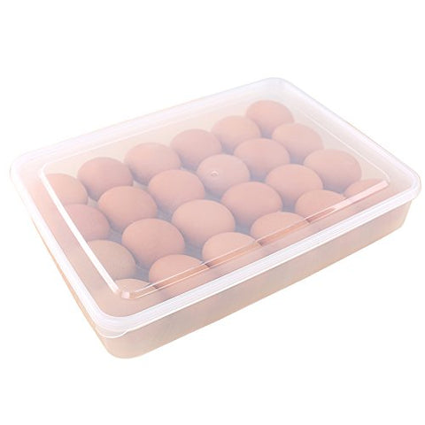 Boseen Dispenser Clear Egg Holder with Lid for Refrigerator, Large Capacity Stackable Food Container or Storag, Fits 24 Eggs 1