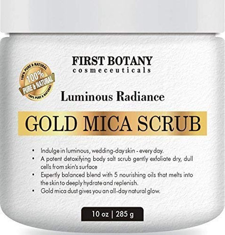 100    Natural Gold Mica Face and Body Scrub 10 oz with Nourishing Oils - Best for Acne, Eczema, Skin Discoloration and Detox, Deep Skin Exfoliator and Body wash