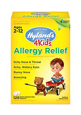 Kids Allergy Medicine by Hyland's 4Kids Non Drowsy Childrens Allergy Relief Quick Dissolving Tablets, Safe and Natural for Indoor & Outdoor Allergies, 125 Count 125 Tablets