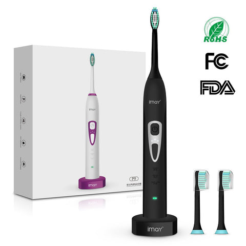 imay 3 Intensity Sonic Electric Toothbrush 3 Modes Waterproof Deep Clean Smart Timer Cordless Inductive Rechargeable Sonic Toothbrush 2 Count Replacement Brush Heads (Black) Black