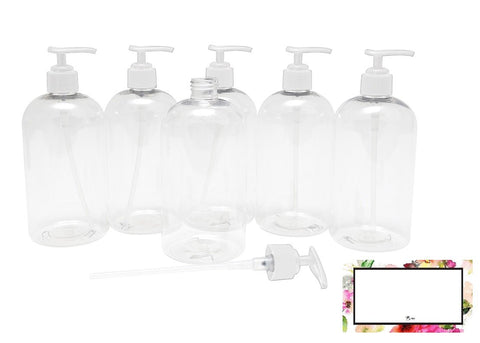BAIRE BOTTLES - 16 OZ CLEAR PLASTIC REFILLABLE BOTTLES with WHITE PUMPS - ORGANIZE Soap, Shampoo and Lotion with a Clean, Clear Look - PET, Lightweight, BPA Free - 6 Pack, BONUS 6 FLORAL LABELS Clear with White Pump, Floral Labels