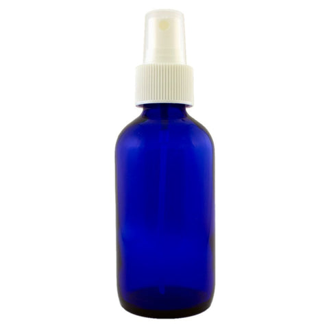Premium Life Blue Glass Bottle with Sprayer 2 oz - Essential Oil Packaging Supplies Blue W/ White Spray