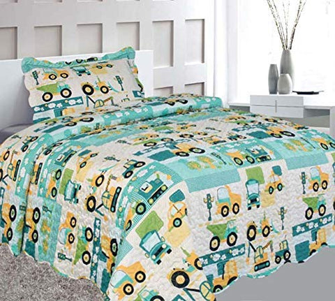 Elegant Home Green Beige Yellow Teal Trucks Tractors Cars Construction Site Design 2 Piece Coverlet Bedspread Quilt Kids Teens Boys Twin Size # Car (Twin Size)