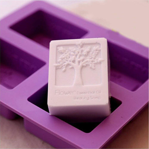 EchoDone 4 Cavities Rectangle Life Tree Silicone Soap Mold DIY Craft Art Cake Mold Handmade Silicone Molds for Soap Candle Life Tree Shape Mold