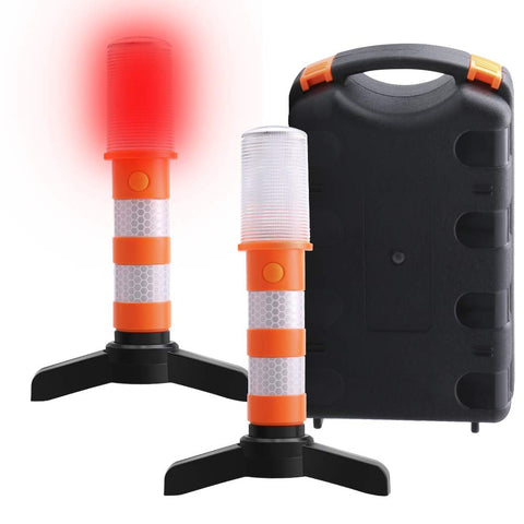 LED Road Flares Car Emergency -Red Light Roadside Beacon Safety Strobe Light Warning Signal Alert Magnetic Based Upright Stand for Marine Vehicles Trucks