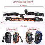 Survival Bracelet Paracord Military Bracelet Buckle Tool Adjustable Rope Accessories Kit, Fire Starter, Knife, Compass, Whistle,for Fishing Gear Supplies, Hiking Travel Camp(2pcs), black+green